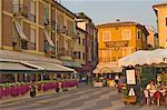 Evening light in Lazise, Lake Garda, Veneto, Italy, Europe