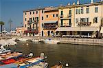 Harbourside area, Lazise, Lake Garda, Veneto, Italy, Europe