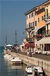 Harbour entrance and quayside, Lazise, Lake Garda, Veneto, Italy, Europe