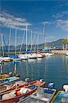 Boats in the harbour, Torre del Benaco, Lake Garda, Veneto, Italy, Europe