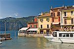 The harbour at Malcesina, Lake Garda, Veneto, Italy, Europe
