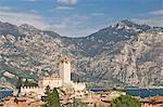 A view over Malcesine and the Scaligero Castle, Lake Garda, Veneto, Italy, Europe