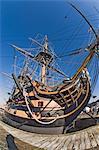 HMS Victory, flagship of Admiral Horatio Nelson, 1758-1805, at Battle of Trafalgar in 1805, Portsmouth Historical Dockyard, Portsmouth, Hampshire, England, United Kingdom, Europe