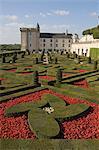 Partie de la grande fleur ornementale et jardins potagers, château de Villandry, patrimoine mondial de l'UNESCO, Indre-et-Loire, vallée de la Loire, France, Europe