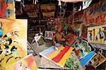 Local artist with his Tingatinga paintings, Zanzibar, Tanzania, East Africa, Africa
