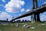 Gens se faire bronzer dans un parc à Brooklyn dans le Manhattan Bridge, New York, New York État, États-Unis d'Amérique, Amérique du Nord