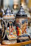 Traditional beer mugs, Munich, Bavaria, Germany, Europe