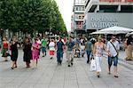 People walking on Konigstrasse (King Street), pedestrianised shopping street, Stuttgart, Baden Wurttemberg, Germany, Europe