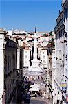 View over Rossio Square, Praca Dom Pedro IV, Lisbon, Portugal, Europe