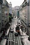 Traffic in the Baixa area, Lisbon, Portugal, Europe