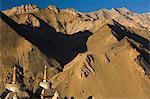 Chortens, Lamayuru gompa (monastery), Lamayuru, Ladakh, Indian Himalayas, India, Asia