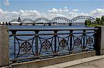 Chemin de fer pont au-dessus de la rivière Daugava, Riga, Lettonie, pays baltes, Europe