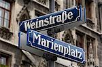 Rue signe pour Marienplatz et Weinstrasse, Munich (München), Bavière (Bayern), Allemagne, Europe