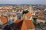 Vue sur la ville depuis la tour de Peterskirche (église Saint-Pierre), Munich (München), Bavière (Bayern), Allemagne, Europe