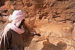 Rock engravings, Messak Mellet, Southwest desert, Libya, North Africa, Africa