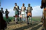 Jumping fertility dance, Karo tribe, Omo River, Ethiopia, Africa
