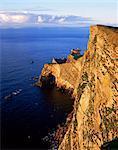 Da Nort Bank, natural arches and cliffs, Foula, Shetland Islands, Scotland, United Kingdom, Europe