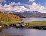 Gesto House, Loch Harport and snow on Black Cuillins, Isle of Skye, Inner Hebrides, Scotland, United Kingdom, Europe