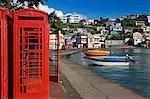 Cabine téléphonique dans le port de Carenage, de Saint-Georges, Grenade, îles sous-le-vent, petites Antilles, Antilles, Caraïbes, Amérique centrale