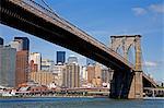 Pont de Brooklyn et Lower Manhattan Skyline vu de l'Empire-Fulton Ferry State Park, District de Dumbo, Brooklyn, New York City, New York, États-Unis d'Amérique, Amérique du Nord