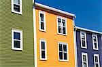 Maisons colorées en Amérique du Nord de Saint-Jean ville, Terre-Neuve, Canada,
