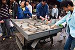 Femme acheter du poisson frais au marché, Xining, Qinghai, Chine, Asie