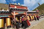 Pilgrims at female Lamasery, Tagong Grasslands, Sichuan, China, Asia