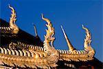 Golden dragon roof finials, Chiang Mai, Thailand, Southeast Asia, Asia