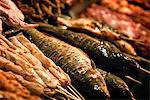 Food for the barbecue, night market, Dali, Yunnan, China, Asia