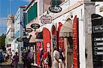 Shops lining the central Main Street, Charlotte Amalie, U.S. Virgin Islands, Leeward Islands, West Indies, Caribbean, Central America
