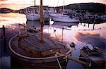 Sonnenuntergang über South Harbour, Hamburgsund, Bohuslan, Schweden, Skandinavien, Europa