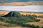 Mitre Rock et Chott de Mitre Lake près de mont Arapiles Wimmera, Victoria, Australie, Pacifique