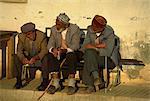 Vieillards avec des perles de l'inquiétude, Kas, Anatolie, Turquie, Asie mineure, Eurasie