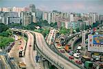 Trafic sur les survols près de l'aéroport de Kai Tak, Kowloon, Hong Kong, Chine, Asie