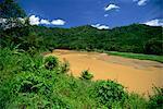 The Padas River near Tenoa, muddy as a result of erosion due to logging, Sabah, Malaysia, Southeast Asia, Asia