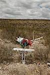 Flowers on Cross, Longfellow, Texas, USA