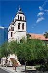 Trees in front of a church,St. Mary's Basilica,Phoenix,Maricopa County,Arizona,USA