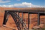 Arch bridge across a river,Glen Canyon Dam Bridge,Lake Powell,Colorado River,Page,Arizona,USA