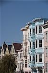 Row of Victorian style houses in a city,Haight-Ashbury,San Francisco,California,USA