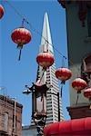 Chinese lanterns hanging on a rope,Transamerica Pyramid,Chinatown,San Francisco,California,USA