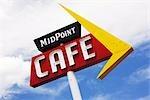 Midpoint Cafe signe sur la Route 66, Adrian, Texas, USA