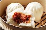 close up of steam bun,(bao)