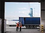 Port Workers Organizing Lorries
