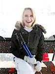 woman laughing in ski lift