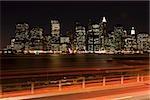 Traffic and cityscape at night,Manhattan,New York City,NY,USA