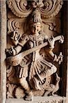 Wood carving of Indian God,Shiva