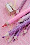 Crayons and pencil sharpener