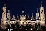 Basilica of Our Lady of the Pillar, at Night, Zaragoza, Aragon, Spain