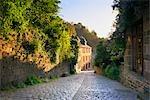 Cobblestone Street and Houses at Sunrise, Dinan, Ille-et-Vilaine, Brittany, France