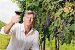 Mann im Weinberg, die Prüfung von einem Glas Wein